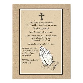 Invitación religiosa de rogación de las manos