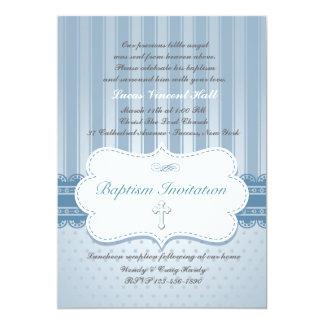 Invitación religiosa del bautismo azul invitación 12,7 x 17,8 cm