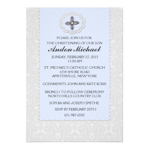 Invitación religiosa del damasco azul divino
