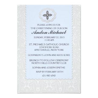 Invitación religiosa del damasco azul divino invitación 12,7 x 17,8 cm
