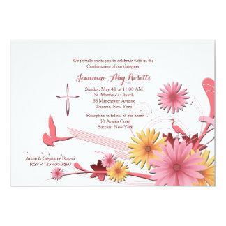 Invitación religiosa del Gerbera rosado Invitación 12,7 X 17,8 Cm