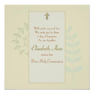 Invitación religiosa del helecho del brote invitación 13,3 cm x 13,3cm