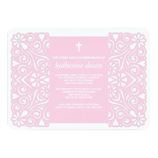 Invitación religiosa del rosa agradable del