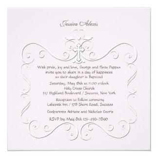 Invitación religiosa del rosa blando del corazón invitación 13,3 cm x 13,3cm