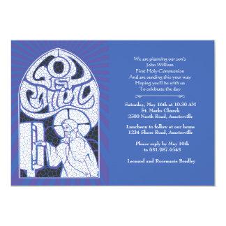 Invitación religiosa del vitral de Jesús