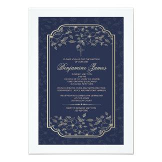 Invitación religiosa floral azul del cubo