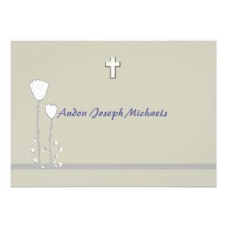 Invitación religiosa floral simple