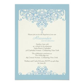 Invitación religiosa ornamental azul