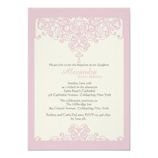 Invitación religiosa ornamental rosada