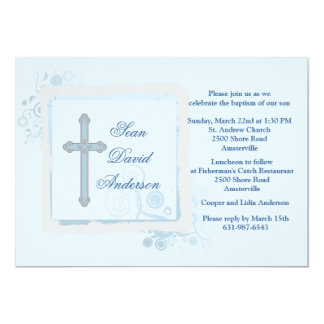 Invitación religiosa plana azul fresca invitación 12,7 x 17,8 cm