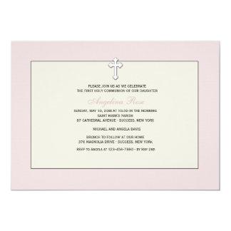 Invitación religiosa rosada invitación 12,7 x 17,8 cm