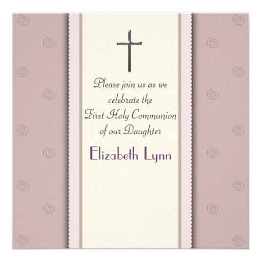 Invitación religiosa rosada cruzada de plata