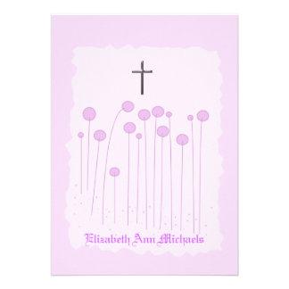 Invitación religiosa rosada preciosa