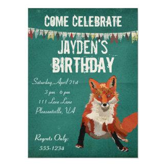 Invitación retra ambarina del cumpleaños del Fox Invitación 13,9 X 19,0 Cm