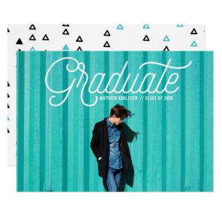 Invitación retra blanca de la graduación de la