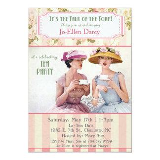 Invitación retra de la fiesta del té