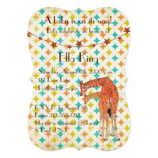 Invitación retra del bebé de las jirafas