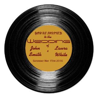 Invitación retra del boda del vinilo invitación 13,3 cm x 13,3cm