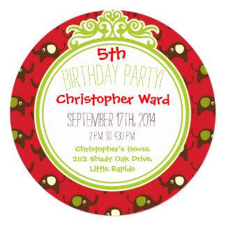 Invitación retra del círculo del cumpleaños de los
