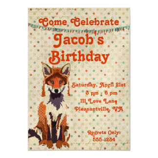Invitación retra del cumpleaños del Fox rojo Invitación 12,7 X 17,8 Cm