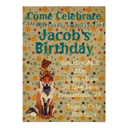 Invitación retra del cumpleaños del Fox rojo y del