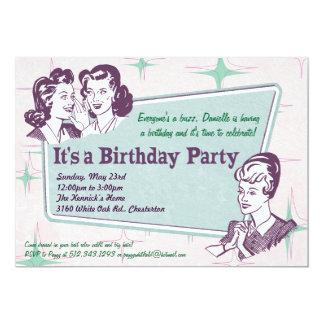 Invitación retra del cumpleaños del Peinado de la