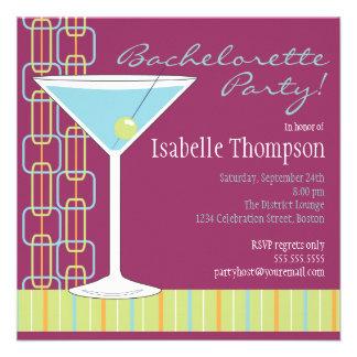 Invitación retra del fiesta de Martini Bachelorett