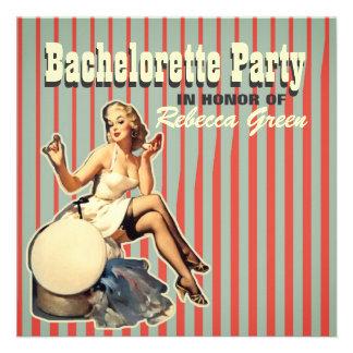 invitación retra del fiesta del bachelorette del v