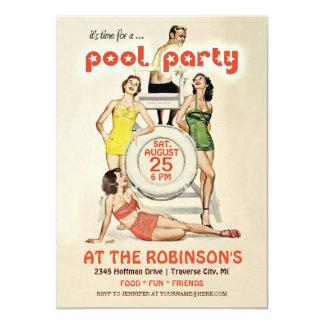 Invitación retra linda de la fiesta en la piscina