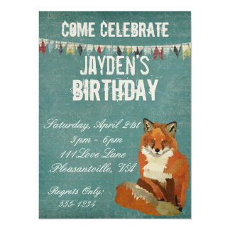 Invitación retra roja del cumpleaños del Fox Invitación 13,9 X 19,0 Cm