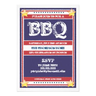 Invitación roja, blanca, y azul del Bbq