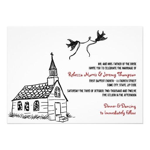 Invitación roja blanco y negro del boda de la capi