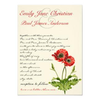 Invitación roja cristiana del boda de la flor de