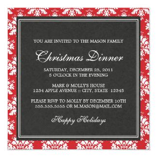 Invitación roja cuadrada de la cena de navidad del