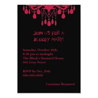Invitación roja de Halloween del bloody mary