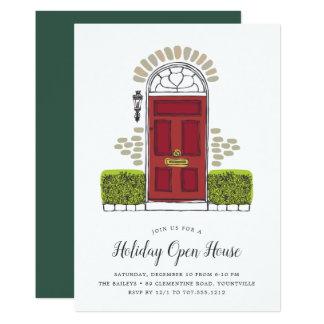Invitación roja de la casa abierta del día de