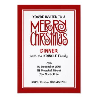 Invitación roja de la cena de las Felices Navidad