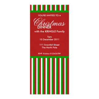 Invitación roja de la cena de navidad de las rayas