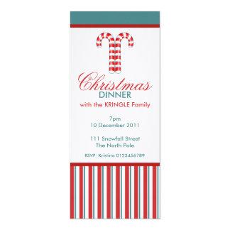 Invitación roja de la cena de navidad de los