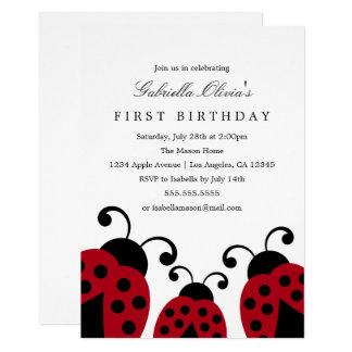 Invitación roja de la fiesta de cumpleaños de las
