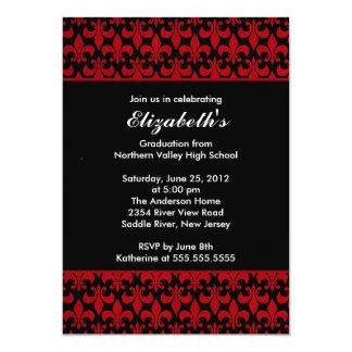Invitación roja de la graduación de la flor de lis