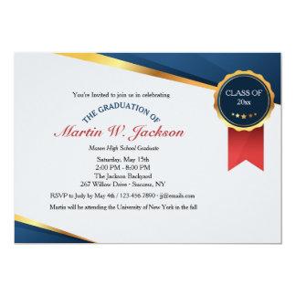 Invitación roja de la graduación del certificado