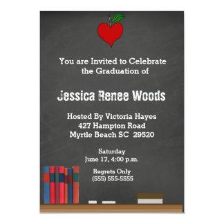 Invitación roja de la graduación del profesor del