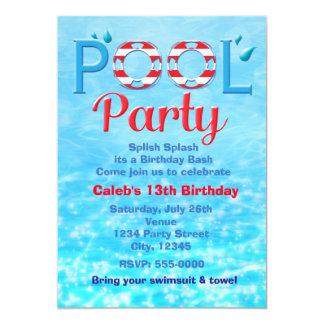Invitación roja de la nadada de la tipografía del invitación 12,7 x 17,8 cm