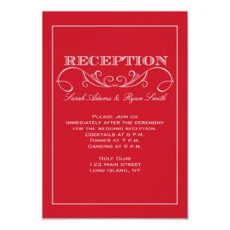 Invitación roja de la recepción nupcial del