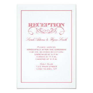 Invitación roja de la recepción nupcial del invitación 8,9 x 12,7 cm