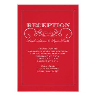 Invitación roja de la recepción nupcial del remoli