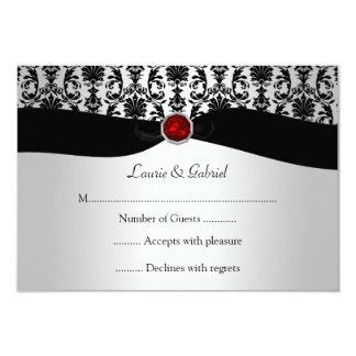 Invitación roja de RSVP de la joya del damasco de