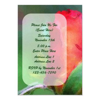 Invitación roja del arte de la flor del capullo de