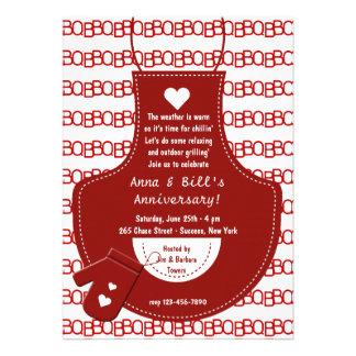 Invitación roja del Bbq del delantal